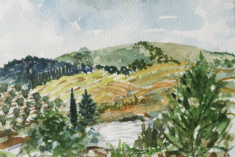 View from Fattoria Voltrona Tuscany countryside watercolor painting by April Lombardi